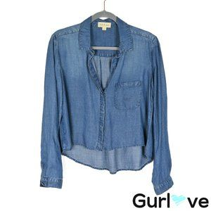 Cloth & Stone Size M Chambray Long Sleeve Crop Top